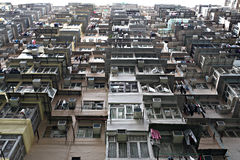 Crowded Apartments in Hong Kong. People living in crowded apartments area in Hong Kong Stock Photos