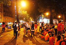Crowded atmosphere, Ho Chi Minh youth lifestyle Royalty Free Stock Photography