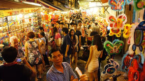 Crowded atmosphere,  lantern street at night Royalty Free Stock Images