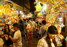 Crowded atmosphere,  lantern street at night Stock Photos