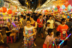 Crowded atmosphere,  lantern street at night Stock Photo