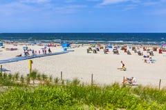Crowded Baltic sea beach on Usedom island in Swinoujscie, Poland stock photos