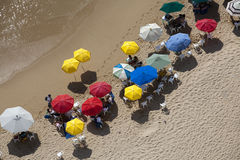 Crowded Beach. Look down at a crowded beach in Mexico with umbrellas stock image