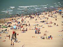 Crowded Beach. A beach full of people stock photography