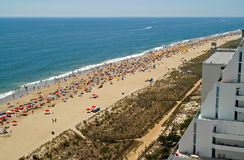 Crowded Beach. Wide Angle View of a Crowded Beach stock photography