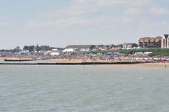 Crowded beach on air show day at Clacton viewed from the pier Stock Photography