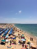 Crowded beach. Armacao de Pera crowded beach in summer Stock Photos