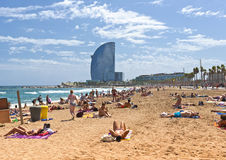 Crowded beach of Barceloneta - Barcelona Royalty Free Stock Photo