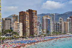 Crowded beach of Benidorm on a cloudy day Royalty Free Stock Photography