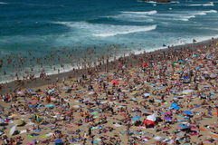 Crowded beach. Biarritz crowded beach with surf Stock Images