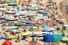 Crowded beach in Costa Brava Stock Image