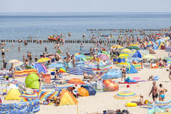 Crowded beach in Dziwnowek, one of the most visited summer spots Stock Photography