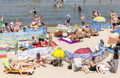 Crowded beach in Dziwnowek, one of the most visited summer spots Royalty Free Stock Images
