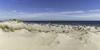 A crowded beach in early fall on the Jersey Shore Royalty Free Stock Photography