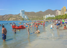 Crowded Beach El Rodadero Colombia Royalty Free Stock Images