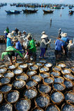 Crowded, beach, fish market, seafood, Vietnam Royalty Free Stock Images