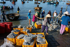 Crowded, beach, fish market, seafood, Vietnam Royalty Free Stock Photography