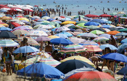 Crowded Beach. GALLIPOLI, ITALY - 27 AUGUST 2014 : Very Crowded Beach Full Of People At Mediterranean Sea. Gallipoli is a major tourist town in the southern stock image
