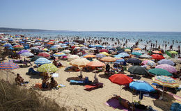 Crowded Beach. GALLIPOLI, ITALY - 27 AUGUST 2014 : Very Crowded Beach Full Of People At Mediterranean Sea. Gallipoli is a major tourist town in the southern stock photography