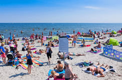 Crowded beach in Gdynia, Baltic sea, Poland Royalty Free Stock Photo