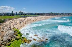 Crowded beach on a hot day at Bondi beach, Sydney, Australia. stock image