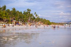 Crowded beach on the island of Boracay, Royalty Free Stock Image