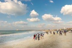 Crowded beach of Jumeirah Marina on sunny day, Dubai. Stock Photography