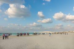 Crowded beach of Jumeirah Marina on sunny day, Dubai. Royalty Free Stock Image