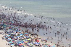 Crowded beach - Myrtle beach SC. Sand ocean and Sea stock photo