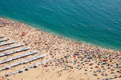 Crowded beach in Nazare. The crowded beach of Nazare, Portugal, seen from above stock photos