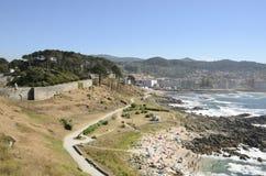 Crowded beach next to Monterreal Castle Stock Photos