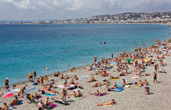 Crowded Beach in Nice Royalty Free Stock Images