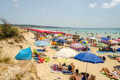 Crowded beach in Salento, Italy Royalty Free Stock Images