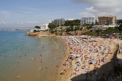 Crowded beach. In Salou, Spain stock photo