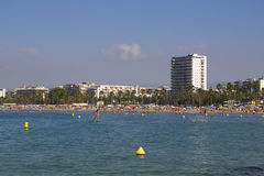 Crowded beach in Salou, Spain Royalty Free Stock Photography