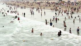 Crowded Beach in Santa Monica California stock video