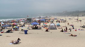 Crowded Beach in Santa Monica California - Time Lapse stock footage