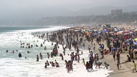 Crowded Beach in Santa Monica California - Time Lapse stock video footage