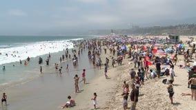Crowded Beach in Santa Monica California - Time Lapse stock video