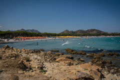 Crowded beach in Sardinia, Italy Stock Image