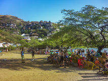 Crowded Beach in Taganga Colombia Stock Photography