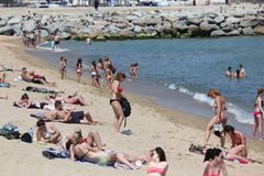 Crowded beach with tourists and locals in s Royalty Free Stock Photography