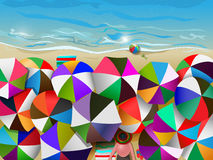 Crowded beach. Vector illustration of crowded beach full of umbrellas, eps10 file, gradient mesh and transparency used Royalty Free Stock Photo