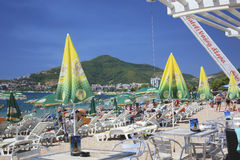 Crowded beaches of Budva. Budva - the popular resort in Montenegro.  Adriatic sea Budva Riviera.The height of the summer season Stock Photo