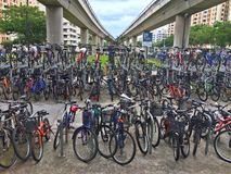Crowded bicycle bay Royalty Free Stock Images