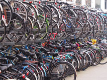 Crowded bicycle storage for commuters at Leiden Stock Images