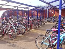 Crowded bike storage shed. Royalty Free Stock Images