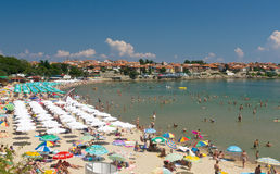 Crowded Black Sea Beach Royalty Free Stock Image