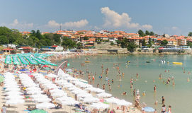 Crowded Black Sea Beach Stock Image