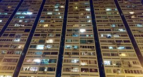 Crowded Blocks of Residential Buildings. At night in Hong Kong China Royalty Free Stock Image